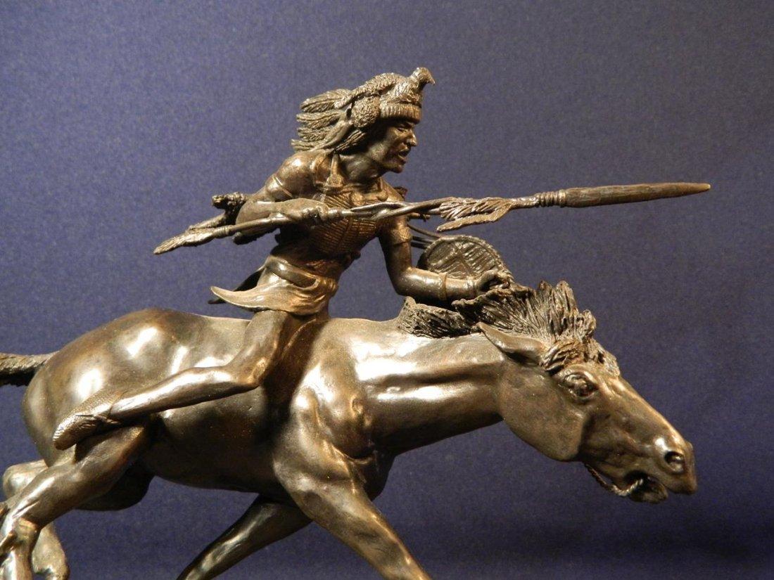 Jack Riley Crow Warrior Indian Native American Bronze - 2