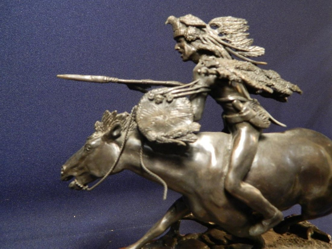 Jack Riley Crow Warrior Indian Native American Bronze - 5