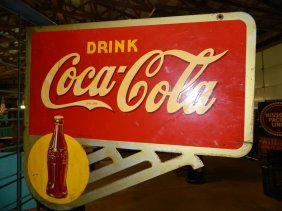 1938 Drink Coca Cola Double Sided Porcelain Sign