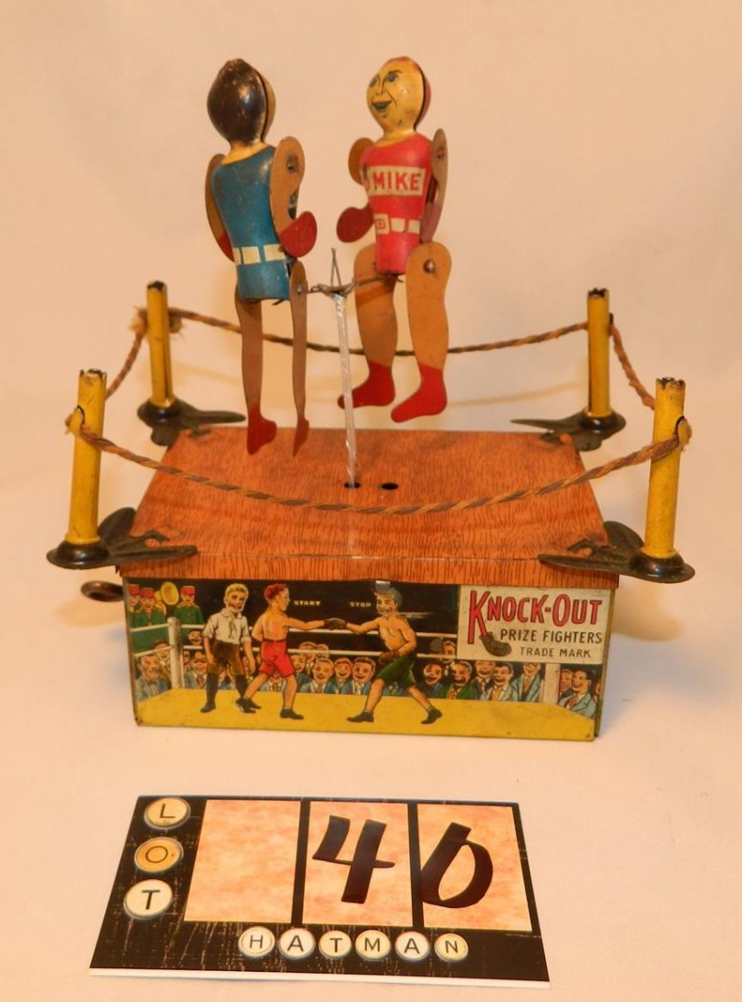 Knock-Out Prize  Fighters Trademark Strauss Tin Toy