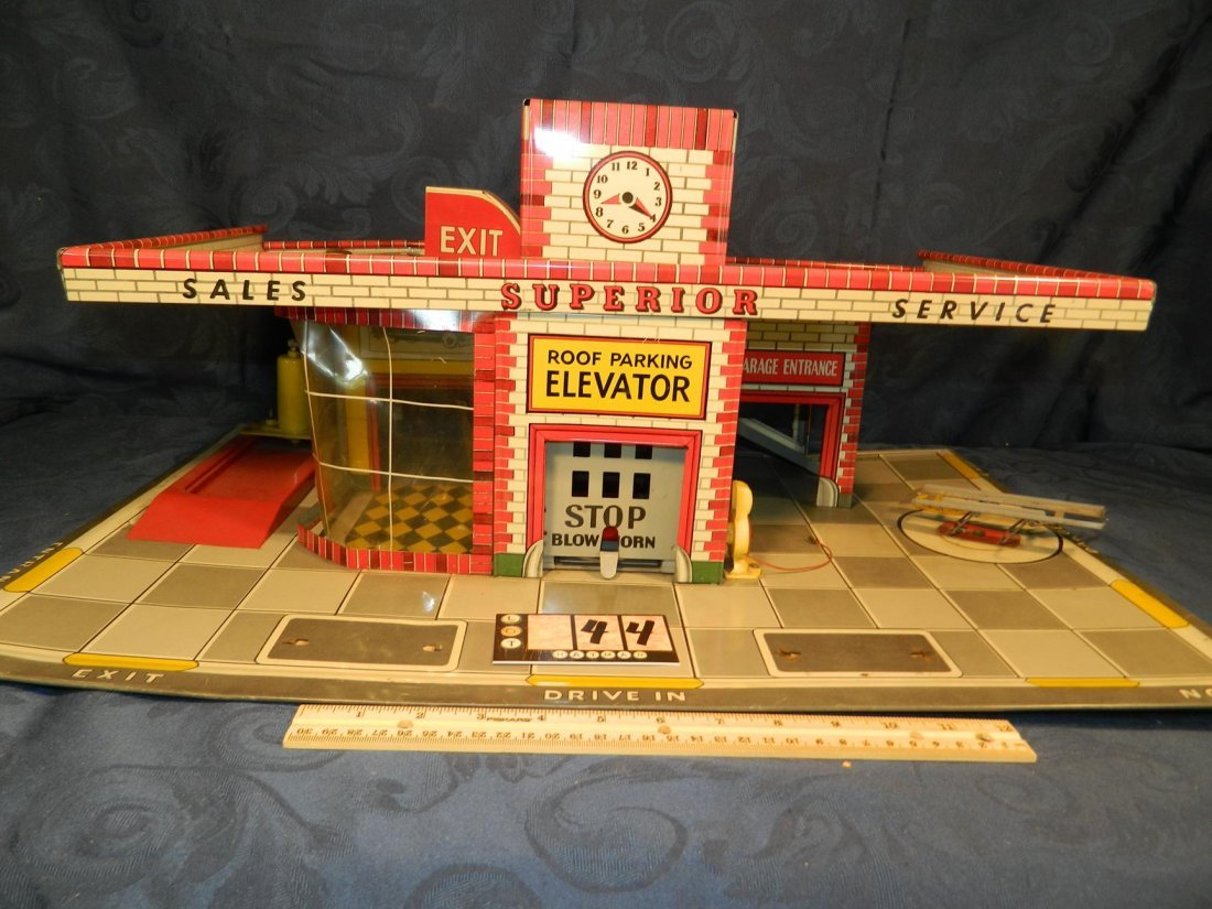 Large Superior Sales and Service Tin Toy with Roof