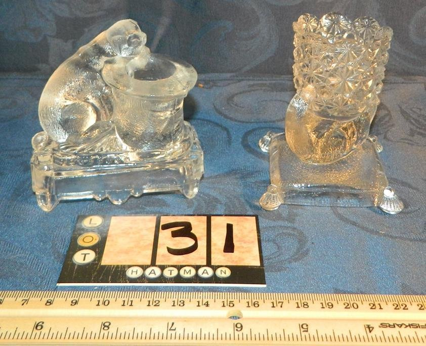 FIGURAL GLASS TOOTHPICK HOLDERS, CAT AND OTTER