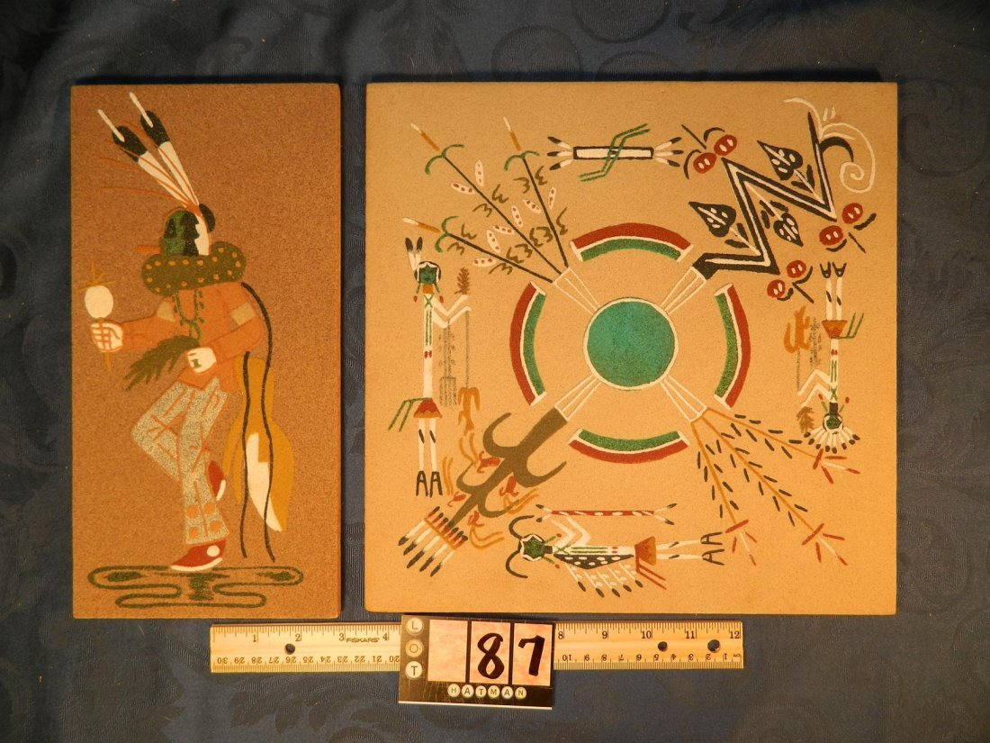 2 Gracie Dick Indian Native American Sand Paintings