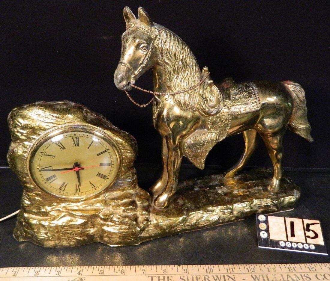 VINTAGE ANTIQUE BRONZE HORSE ON CLOCK BASE