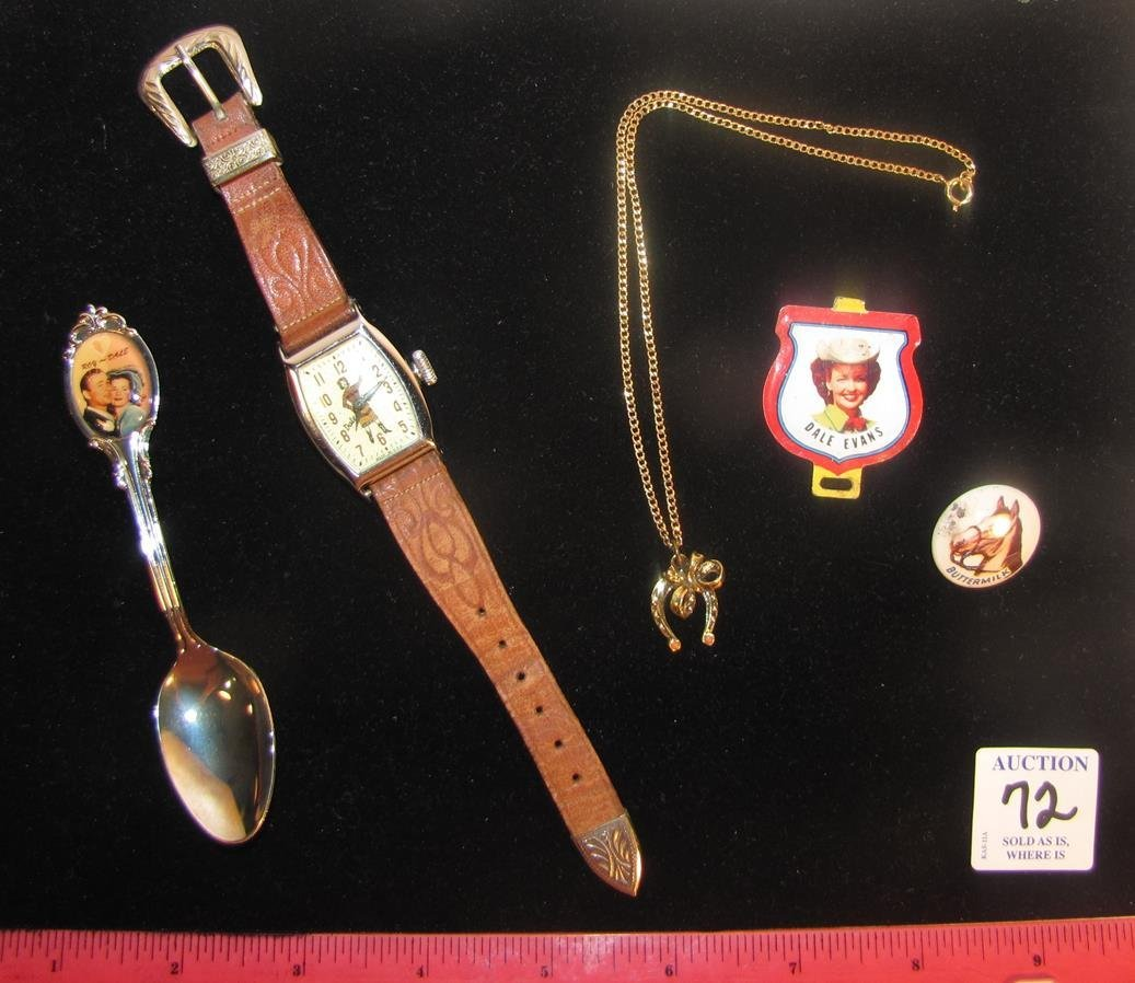 DALE EVANS PREMIUMS WATCH AND SOUVENIR SPOON JEWELRY