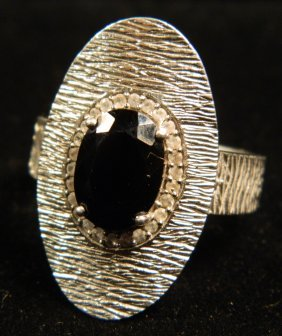 DESIGNER JEWELRY BLACK SPINEL WITH WHITE TOPAZ RING