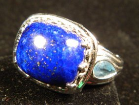 DESIGNER JEWELRY LAPIS/BLUE TOPAZ RING POSSIBLY