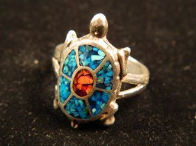 DESIGNER JEWELRY INLAY TURQUOISE TURTLE RING SIZE 10