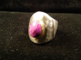 DESIGNER JEWELRY POSSIBLY CHAROITE RING SIZE 7