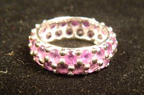 DESIGNER JEWELRY AMETHYST ETERNITY BAND RING SIZE 6