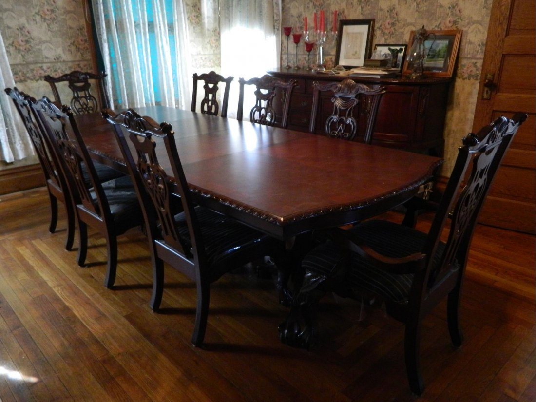 FORMAL DOUBLE PEDESTAL DINING TABLE, 8 LARGE CHAIRS,