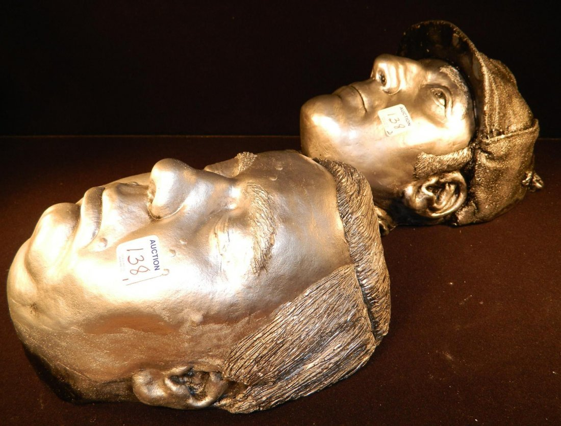 PAIR OF DEATH MASKS GOOD QUALITY CHALK PLASTER