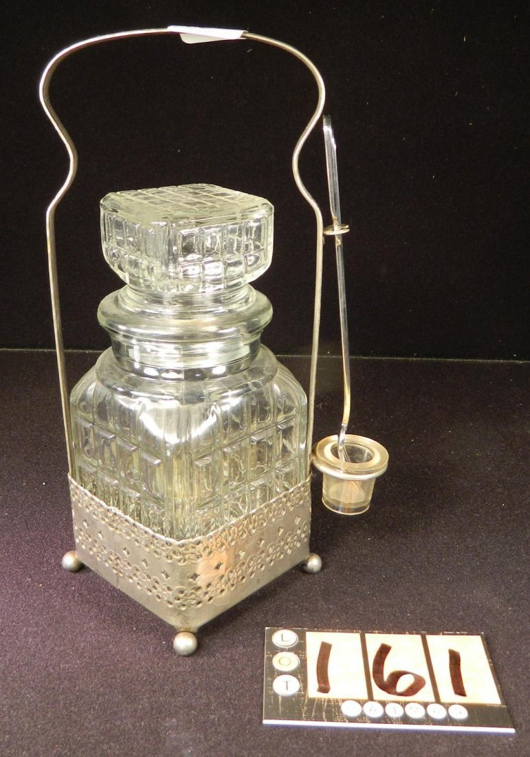 VICTORIAN PICKLE CASTOR SQUARE JAR GLASS DRIP JAR