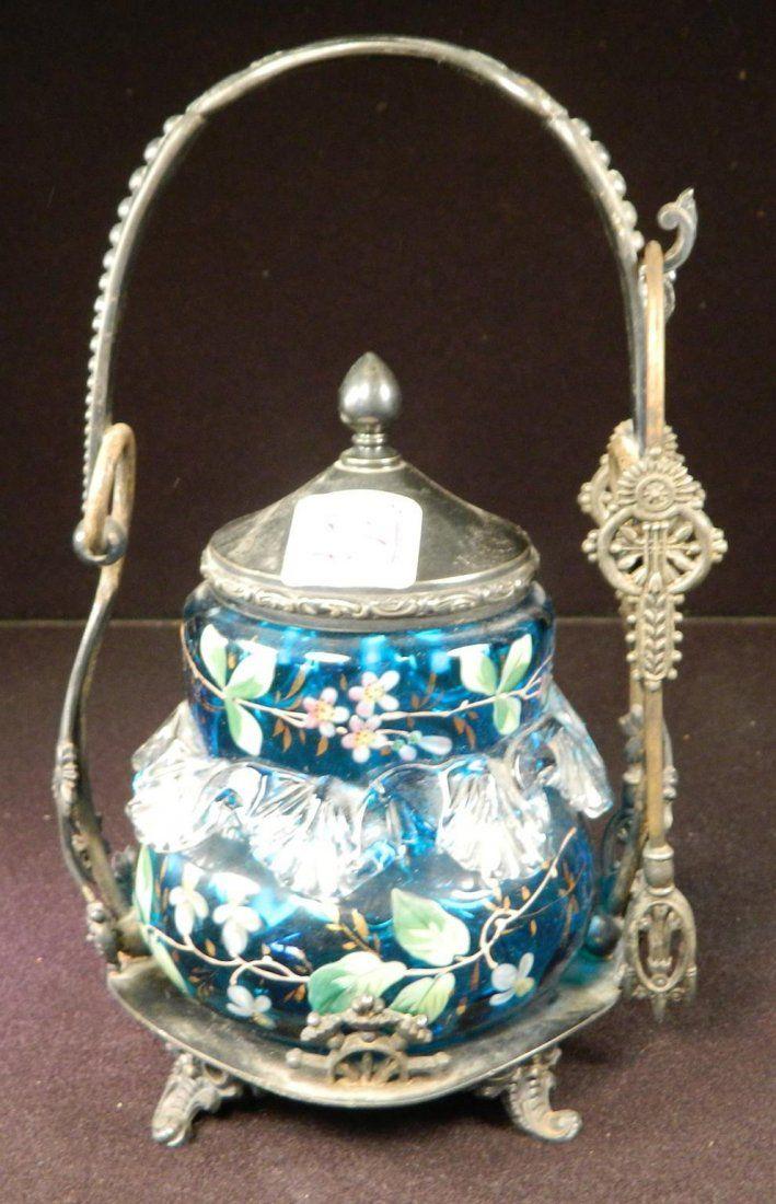 VICTORIAN MERIDEN ORNATE HAND BLOWN GLASS PICKLE CASTOR