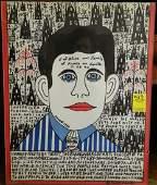 HOWARD FINSTER SELF PORTRAIT 1994 FOLK ART PAINTING