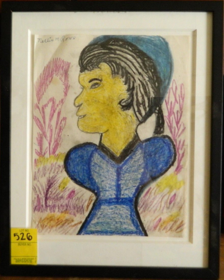 NELLIE MAE ROWE SELF PORTRAINT CRAYON INK ON PAPER