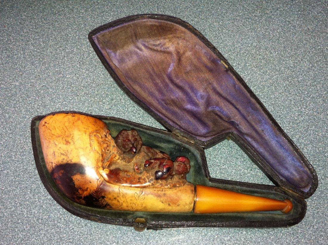 Antique Meerschaum Fox Estate Pipe in Case c.1880