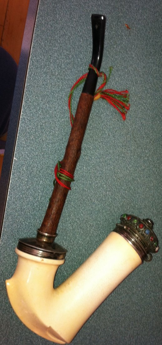 Antique Large Ragozy Hungarian Hunting Jeweled Lap Pipe