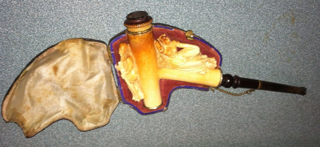 Antique Meerschaum Basry Lady & Man with Oar Pipe Cased