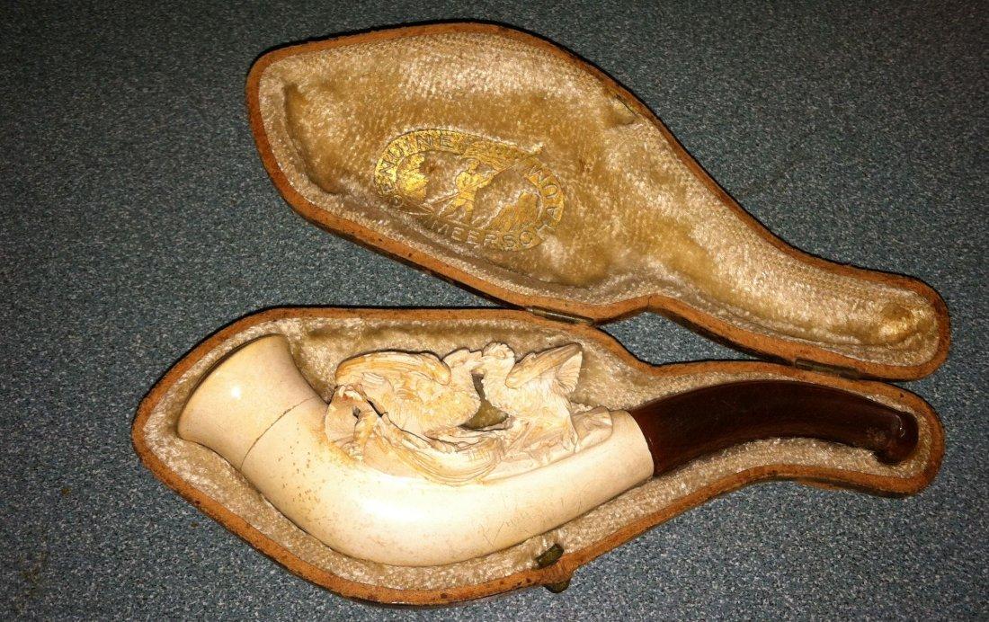 Antique Meerschaum Charoot 2 Love Doves Estate Pipe