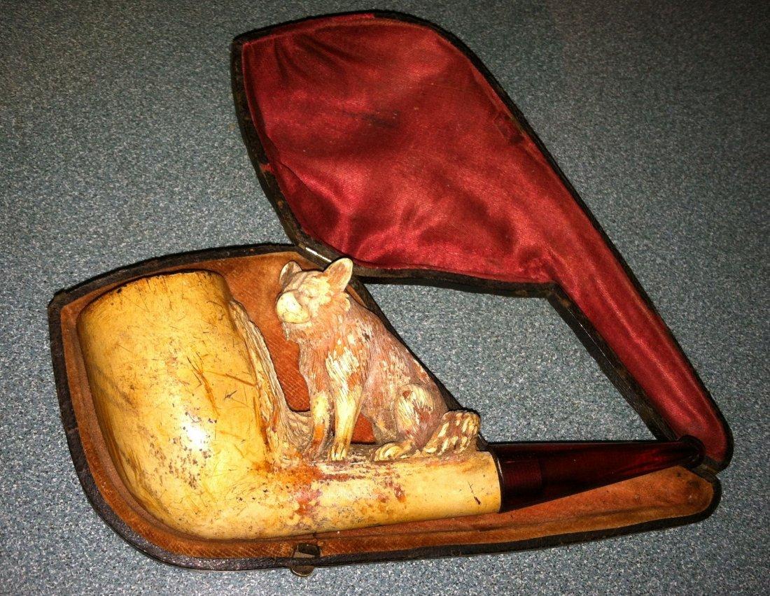 Antique Meerschaum Hyena Figurial Pipe in Case