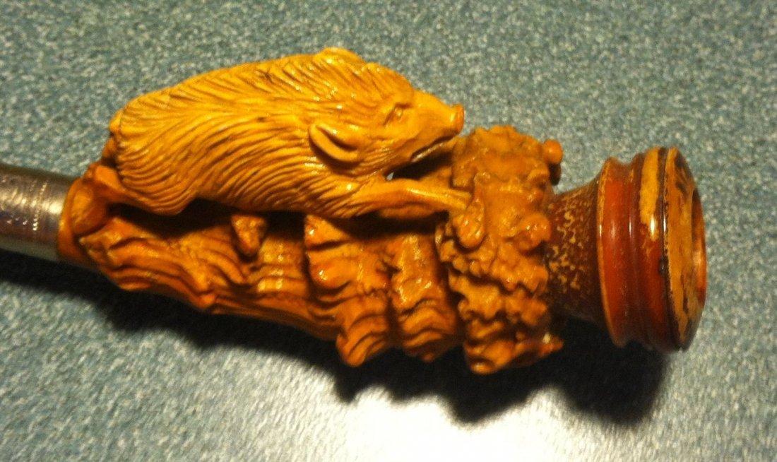 Wild Boar Antique Charoot Meerschaum Estate Pipe c1900