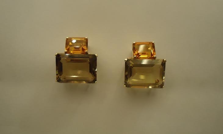 GOLD EARRINGS WITH LEMON TOPAS & CITRIN