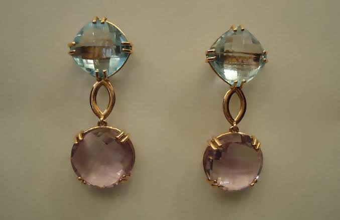 GOLD EARRINGS WITH BLUE TOPAS & AMETHYST