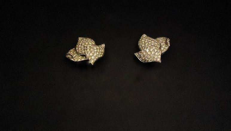 VIENNESE DIAMOND THREE LEAF EARRINGS