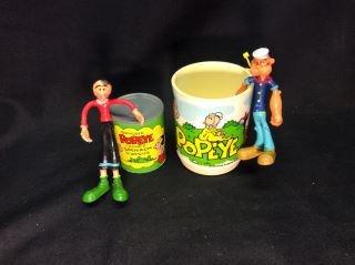 Popeye Lot - 1979 Plastic Spinach, Plastic Mug Popeye