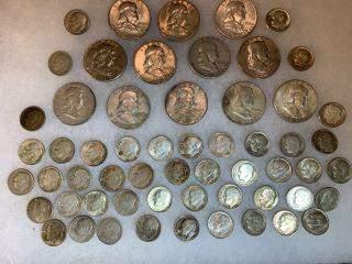 Silver Franlkin & Roosevelt Coins 12 Franklin & 57