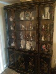 Oriental Black Laquered China Cabinet contents NOT