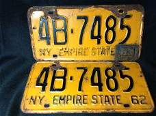1962 NY License Plate Set 1963 Corner Tag Additional