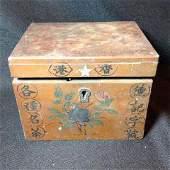 Early Chinese Tea Box Wooden box w tin interior box