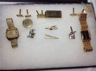 Men's Jewelry Lot Elgin & Bulova watches, cufflinks,