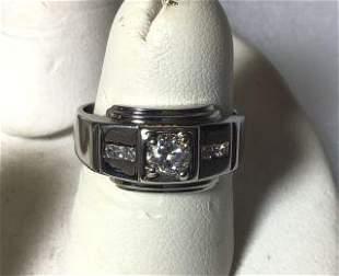 Art Deco 14kt White Gold Diamond Ring Half kt.  Diamond