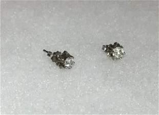 Diamond Earrings on 14kt White Gold Backs Quarter kt