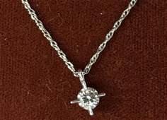 14kt white gold necklace w diamond 16in necklace Around