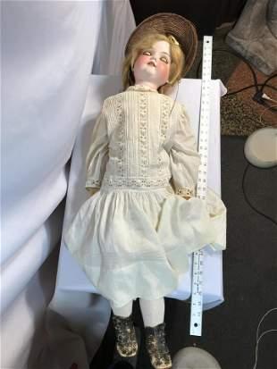 Early German Porcelain Head Doll Eyes Work