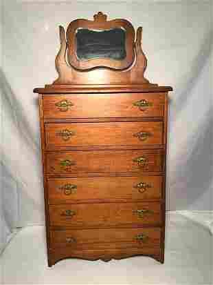 Tiger Oak Victorian Child's Dresser Measures 34