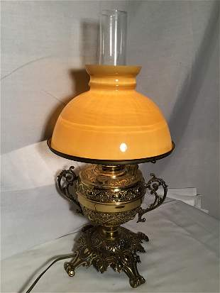 Victorian Converted Oil Lamp w Butterscotch shade 21 in