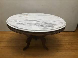 Victorian Marble Top Coffee table 34x25x18.5in