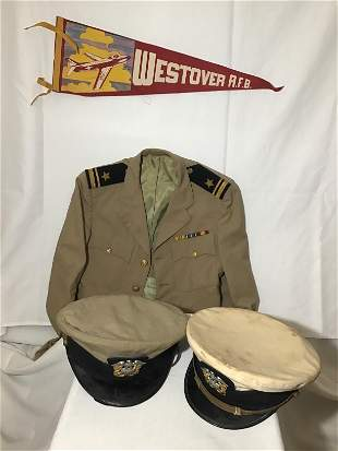 Military Uniform Lot Includes 2 caps, uniform shirt and