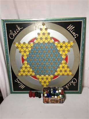 Chinese Checkers & Checkers Board w Original pieces