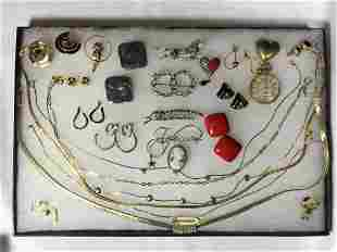 Costume Jewelry Lot - pins, earrings, necklaces and