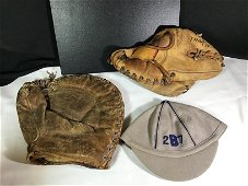 Vintage Baseball Mitts and Cap .