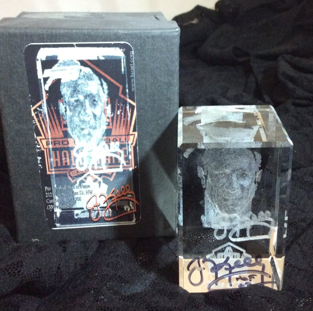 Jim Kelly Crystal Bust from Hall Of Fame Autographed