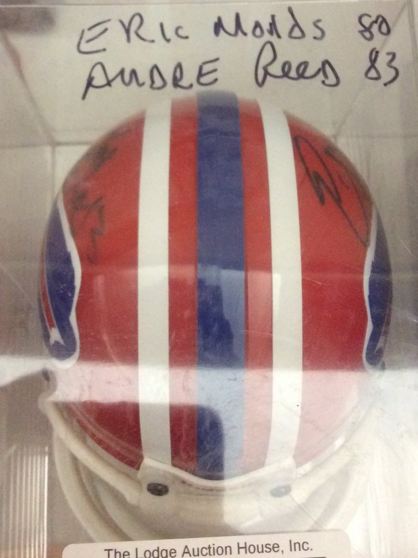Eric Mould/Andre Reed autographed Buffalo mini helmet