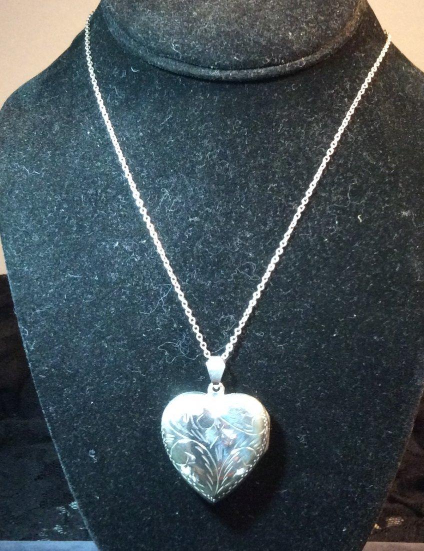 Sterling Heart Locket w/ Sterling chain