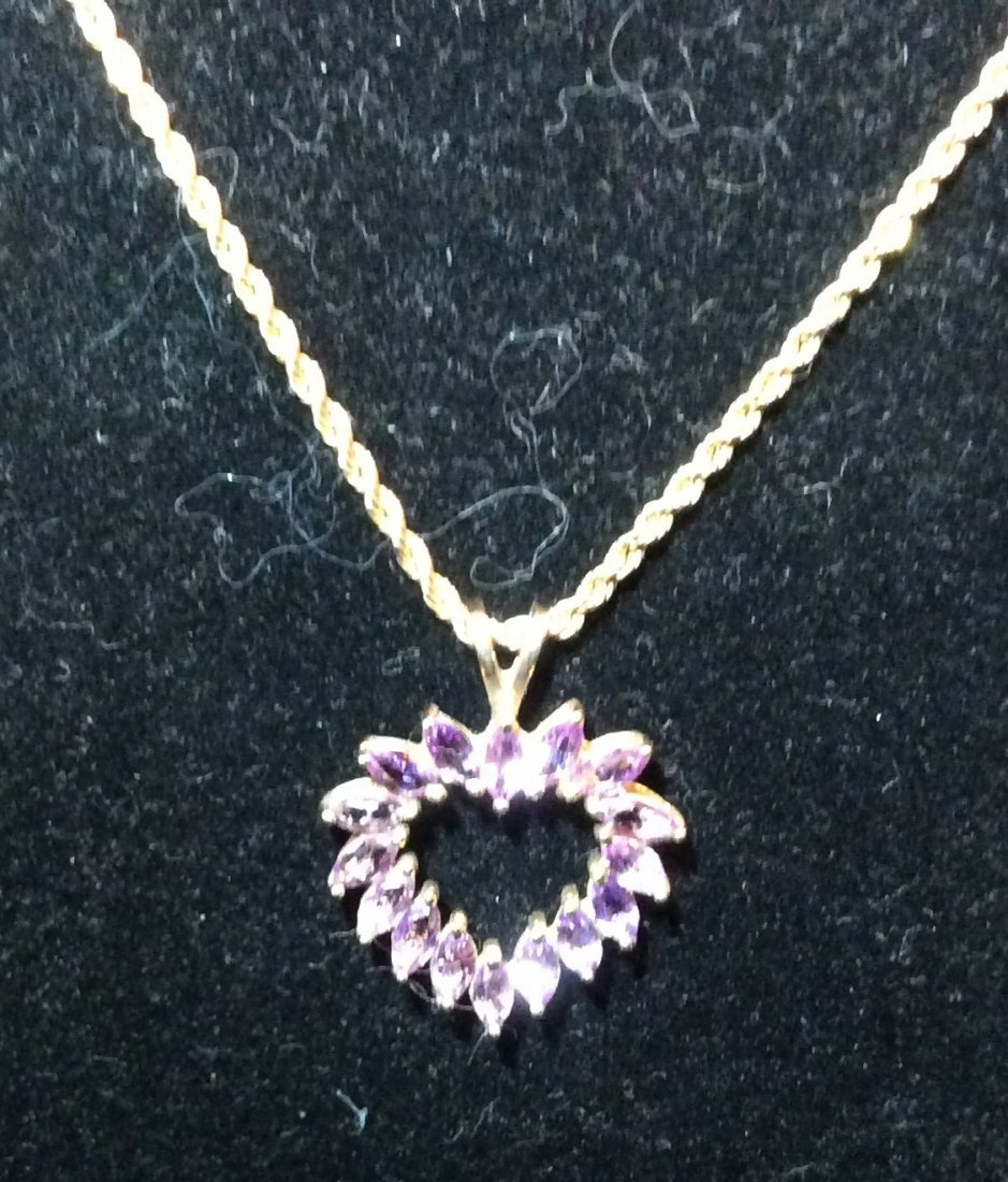 Gold Heart and Purple Sapphire